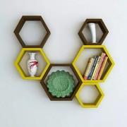 Onlineshoppee Fancy Set of 6 Hexagonal Shape MDF Wall Shelf Big Size ( 10.5 x 4x 10.5) inch Color- Yellow Brown