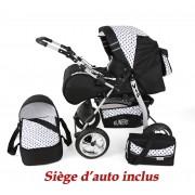 Poussette / Landau Combiné 3en1 Multifonctions Avec Équipement Bébé Enfant 0-36m Roues En Caoutchouc Volver | Noire - Points Noirs
