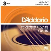 D'addario EJ15 Phosphor Bronze Extra Light (pack 3 juegos)