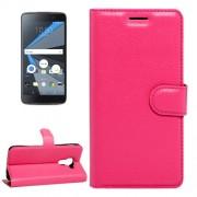 For BlackBerry DTEK60 Litchi Texture Horizontal Flip Leather Case with Magnetic Buckle & Holder & Card Slots & Wallet(Magenta)