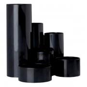 Suport instrumente de scris Flaro, 6 compartimente, negru negru 6 compartimente Plastic Suport instrumente de scris
