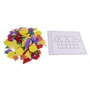 Homyl 125pc Baby Wooden Geometric Building Blocks Board Children Learning Match Classification Kids Training Educational Block Toy