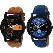 Katrodiya Round Dail Blue And Brown Leather StrapMens Quartz Watch For Men
