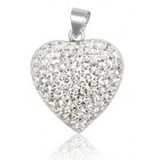 Stříbrný přívěsek srdce s krystaly