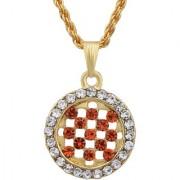 MissMister Gold Plated Round Shape Mandarin Orange CZ and White CZ Fashion Chain Pendant Women Stylish Latest