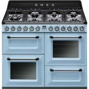Aragaz SMEG Victoria TR4110AZ, 110X60cm, 7 arzatoare, cuptor triplu electric, timer, aprindere electronica, turcoaz