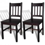 vidaXL Трапезни столове, 2 бр, дърво, кафяви