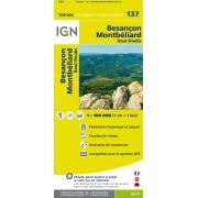 Fietskaart - Wegenkaart - landkaart 137 Besançon - Lausanne - Pontarlier - Neuchâtel - Jura   IGN