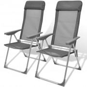 vidaXL Foldable Adjustable Camping Chairs Aluminium Set of 2