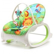 Fiddle Diddle Baby Bouncer Cum Rocker with Vibration Function Amplitude Adjustment and 2 Toys (Lion Green)
