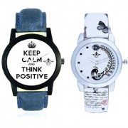 Super Power Of Positive Thinking Round Dial And White Leather Strap Analogue Watch By Vivah Mart