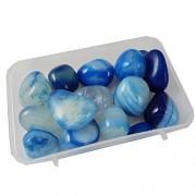 eshoppee 200 gm Blue Onyx Stone Tumble 100% Natural Genuine Original Tumbled kit, Crystal Healing Gemstones (Blue onex)