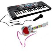 New Pinch Combo of 37 Key Piano Toy with DC Power Option Recording and Mic with Musical Mini Guitar 3D Lighting for Kid