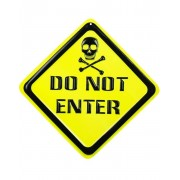 53x53 cm Do Not Enter Veggskilt i Plast - Party Zone