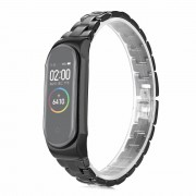 Stainless Steel Watch Band Strap for Xiaomi Mi Band 3/Smart Band 4 - Black