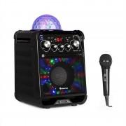 auna Rockstar LED Impianto Karaoke Lettore CD Bluetooth USB AUX 2 x 6,3mm Nero