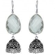 Dazzling Crystal German Silver Oxidized Artificial Jewellery Jhumka Earring Set For Women And Girls