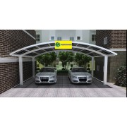 Carport double 6x5m en aluminium blanc