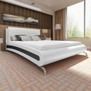 vidaXL Fekete fehér műbőr ágykeret lábbal 200 x 180 cm