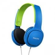 Детски Слушалки Philips Детски слушалки, подсилен дизайн, меки наушници, ултра лека лента за глава, цвят: син/зелен, SHK2000BL