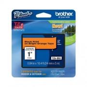 Banda laminata adeziva Brother TZEB51, 5m/24mm, negru/fluorescent/portocaliu