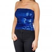 Glitter party kleding Blauwe glitter pailletten disco strapless topje/ shirt dames