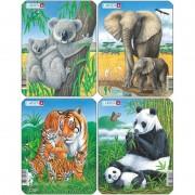 Set 4 Puzzle-uri animale: Koala, Elefant, Tigru, Panda, Larsen, 8 piese, Multicolor