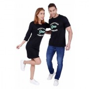 We2 Cotton Together Since Forever Printed Black Color Couple T-Shirts Dress Combo