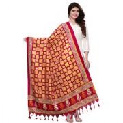 Meia Red and Yellow Bhagalpuri Silk Printed Dupatta