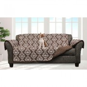 Quick Fit Damask and Plaid Check Reversible Slipcover Furniture Protector Standard Sofas/Couches Damask- Chocolate Brown