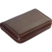 Flipkart SmartBuy Dark Brown Business Card Holder Luxury PU Leather Wallet Credit Cards ID Case/Holder for Men & Women 8 Card Holder(Set of 1, Brown)