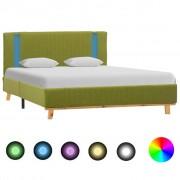 vidaXL zöld szövetkárpitozású LED-es ágykeret 120 x 200 cm