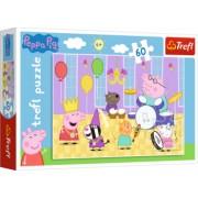 Puzzle copii Trefl 60 piese - Purcelusa Peppa Pig la bal