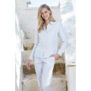Női csíkos mintás pizsama, hosszú ujjú szürke