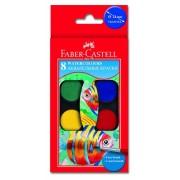 Acuarele + pensula, 8 culori/set, 24 mm, FABER CASTELL