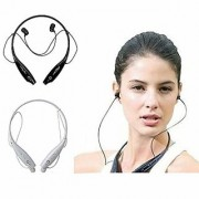ZEVORA (Pack of 2) Hbs-730 Wireless Bluetooth Mobile Phone Headphone/earpod with Calling Functions (WHITE BLACK)