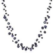 Colier din argint cu perle Valero albastru paun 4-6mm