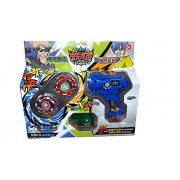 (Angel Impex) High Speed Metal Beyblade with 2 Launchers and 2 Spinning Tops (Blue)
