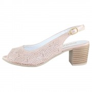Pantofi piele naturala dama - roz, Dogati shoes - toc mic - 803-10-Pudra