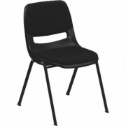 Flash Furniture Multipurpose Student Stacking Chair with Pad- Black, 880-Lb. Capacity, 21Inch W x 23Inch D x 32 1/8Inch H, Model RUTEO101PAD