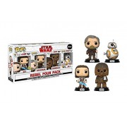 Star Wars Rebel Four Pack Vinyl Bobble-Heads (Rey, Luke Skywalker, Chewbacca, BB-8)