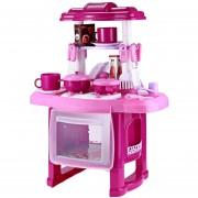 Cocina Infantil Niña Sonido Luz Accesorios Rosa Juguete Cocinita