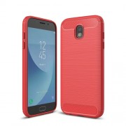 For Samsung Galaxy J730 / J7 Pro Brushed Texture Carbon Fiber Shockproof TPU Rugged Armor Protective Case(Red)