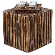 Shilpi Wooden Coffee Table Made From Natural Wood Blocks 16 Inch