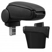 [pro.tec]® Lakťová opierka pre Peugeot 308 II - lakťová opierka - s odkladacím priestorom - koženka - čierna