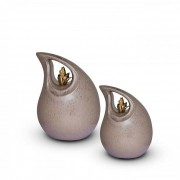 Mini Keramische Teardrop Urn Grey - Golden Flame (0.7 liter)