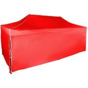Gyorsan összecsukható sátor 3x6 m - acél, Piros, 4 oldalfal