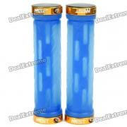 Bike Genuine AEST bicicletas Rubber Grip Handle Bar - Azul + Gold (Par)