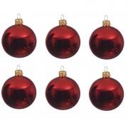 Decoris 6x Kerst rode kerstballen 6 cm glanzende glas kerstversiering
