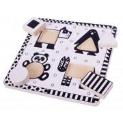 Puzzle alb-negru Animale si forme, 4 piese, 20 x 20 cm